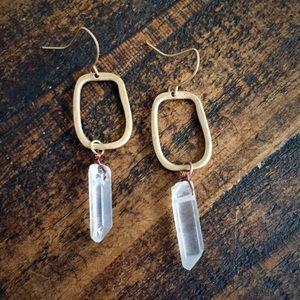 Geometric and quartz drop earrings